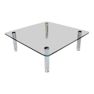 20th Century Modern Square Rounded Corners Glass Top Coffee Table on Cylinder Lucite Legs For Sale