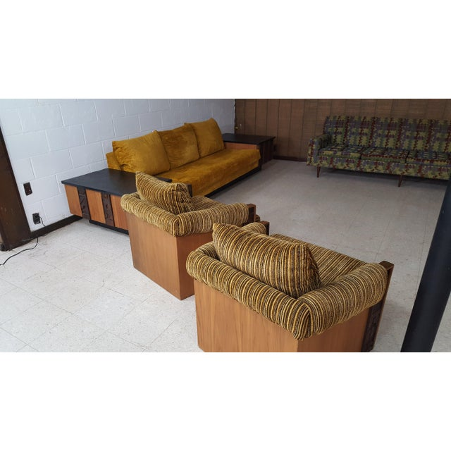 1970s Brutalist Lane Furniture 'Pueblo' Sofa W/ Attached End Tables For Sale - Image 11 of 13