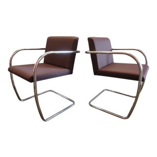 1930s Ludwig Mies Van Der Rohe Mid-Century Modern Brno Tubular Chairs in Red - a Pair