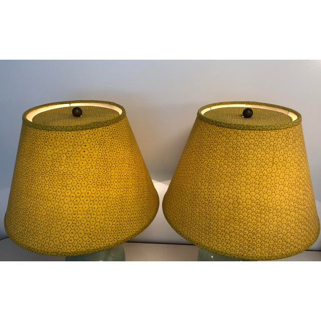 "Pair of Paul Ferrante Custom Shades in Raoul Textile Dark Yellow Fabric Matching Top Diffuser. 10"" Top x 17.5"" Base x..."