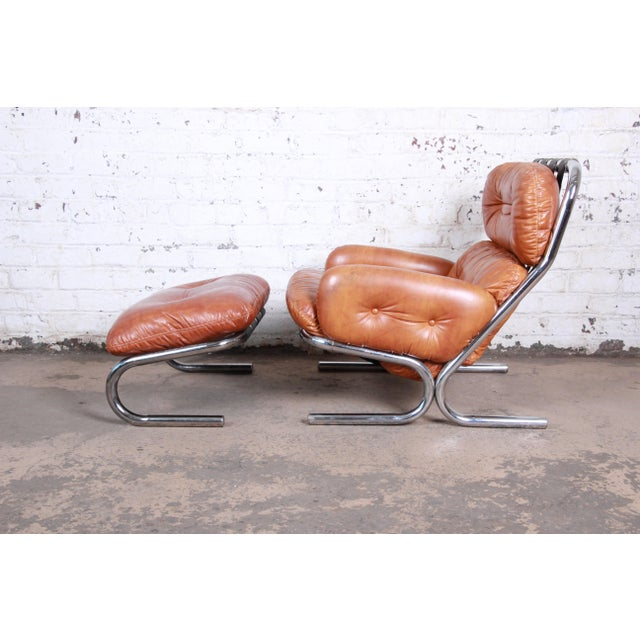 Danish Modern Milo Baughman for Directional Mid-Century Modern Lounge Chair and Ottoman, 1970s For Sale - Image 3 of 13