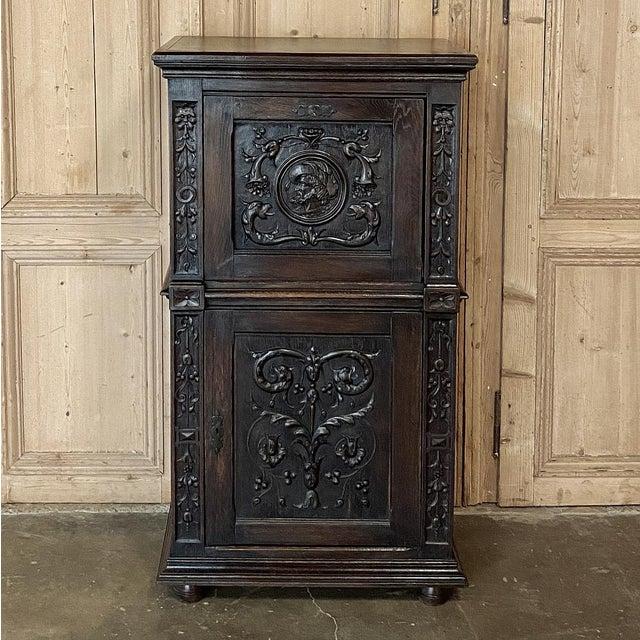 Antique Renaissance Oak Drop-Front Cabinet For Sale - Image 4 of 12