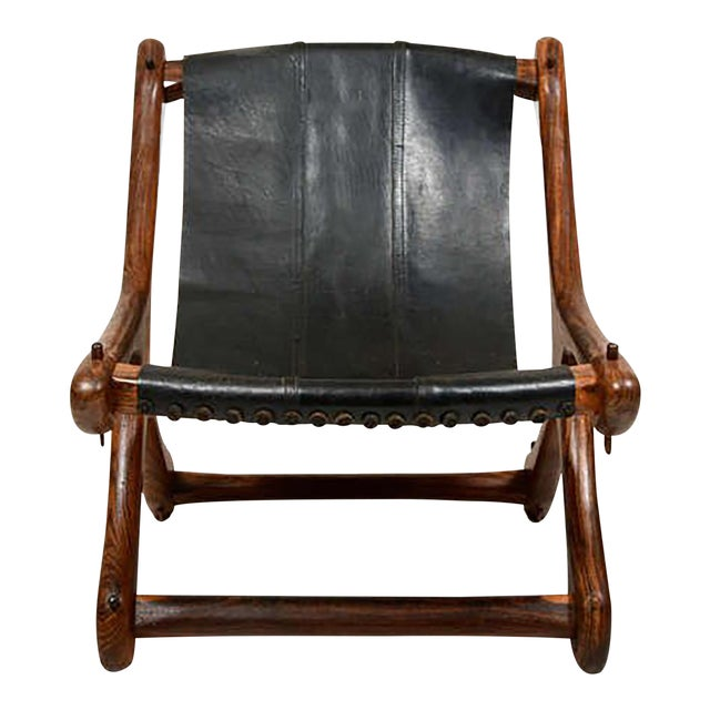 Mid Century Modern Don Shoemaker Sling Chair, Cocobolo & Leather For Sale