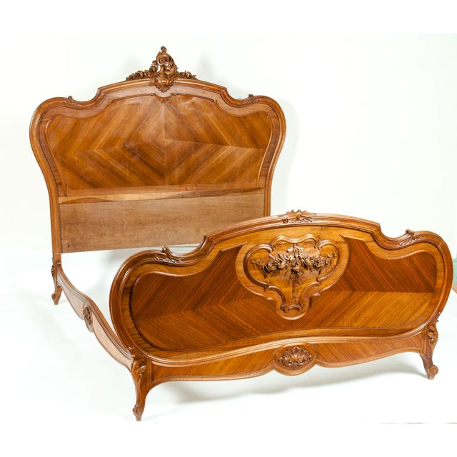 Copper Late 19th Century French Burl Walnut Bed For Sale - Image 8 of 13