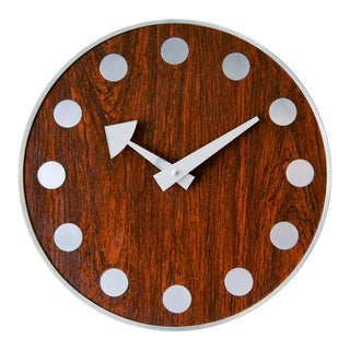 Arthur Umanoff for Howard Miller Rosewood 'Meridian' Wall Clock, Circa 1970 For Sale