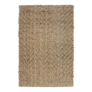 Herringbone Two Tone Natural Jute Rug - 2.6 X 8 For Sale
