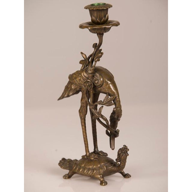 Bronze Crane on Turtle Pair Candlesticks, France c.1840 For Sale - Image 4 of 11