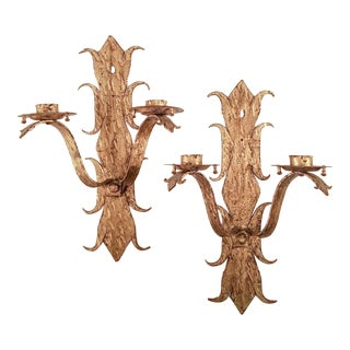Large Dramatic Metal Sconces From Barcelona - a Pair For Sale