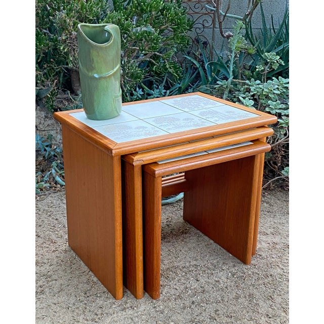 Mid-Century Modern Vintage Danish Modern Teak Tile Top Nesting Tables by Trioh - Set of 3 For Sale - Image 3 of 6