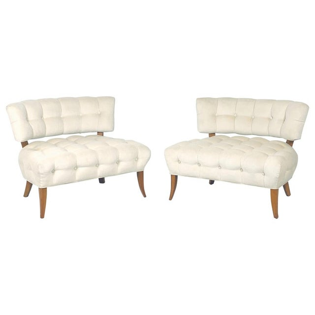 """Wiliam """"Billy"""" Haines Large Scale Regency Tufted Klismos Lounge Slipper Chairs - a Pair For Sale - Image 13 of 13"""