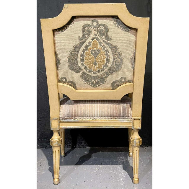 Set of Eight Louis XVI Style Dining Chairs Painted and Parcel-Gilt, Jansen Style For Sale - Image 4 of 13