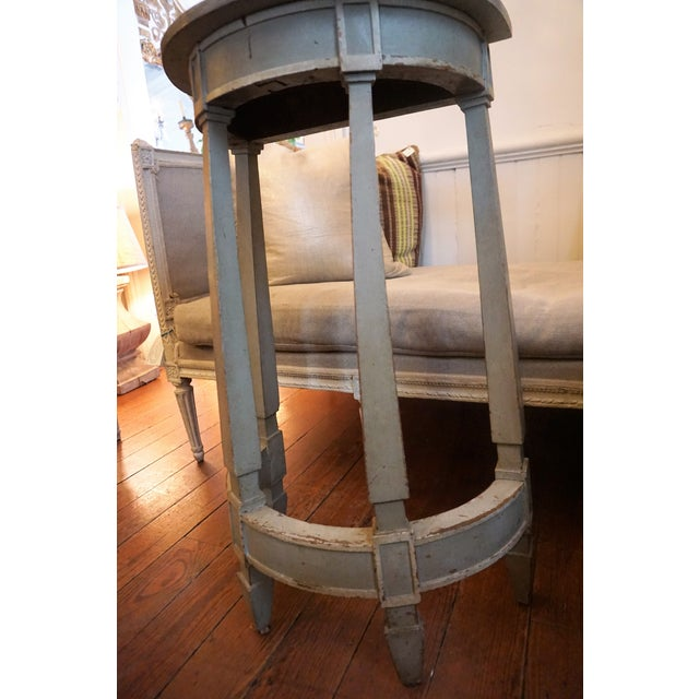 19th Century Petite Shabby Chic Gray Wood Console For Sale In New Orleans - Image 6 of 8