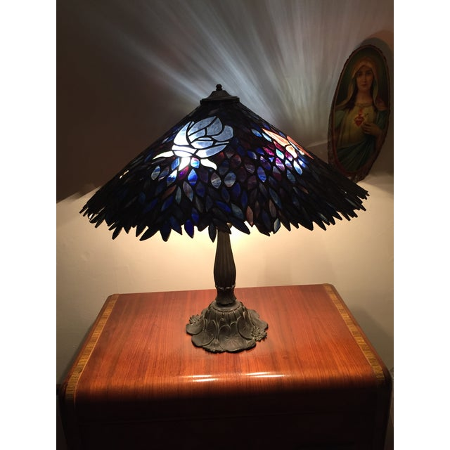 Artist Signed Butterfly Lotus Stained Glass Lamp - Image 5 of 11