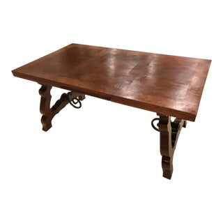 19th Century Oak Portugese Refectory Trestle Table With Leaves