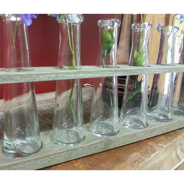 Wood Tray With 7 Glass Bud Vases - Flower Vases For Sale - Image 7 of 9
