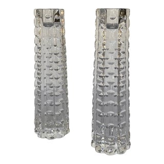 Tapered Crystal Candlesticks - a Pair For Sale