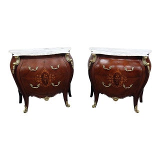French Empire Style Marble Top Commodes - a Pair For Sale