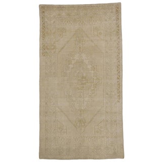 Vintage Turkish Oushak Gallery Rug with Muted Colors and Modern Style