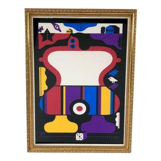 Vintage Framed Hans Dumler German Modernist Lithograph, Signed For Sale