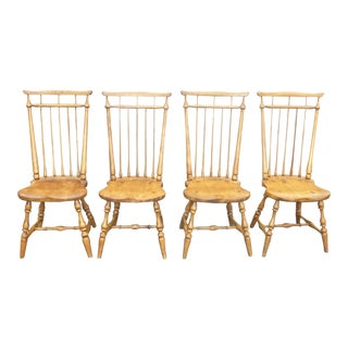 Set Four Vintage Windsor French Country Dining Room Chairs Colonial Farmhouse For Sale