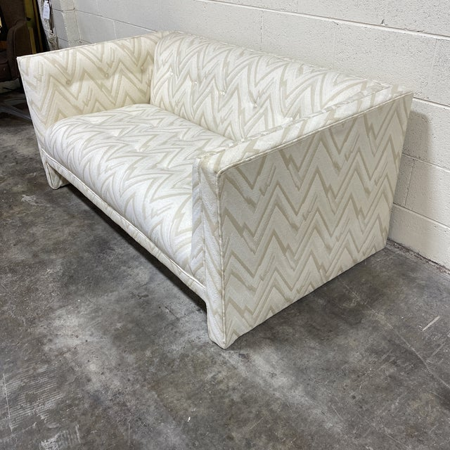 Textile 70s Contemporary Loveseats - a Pair For Sale - Image 7 of 13