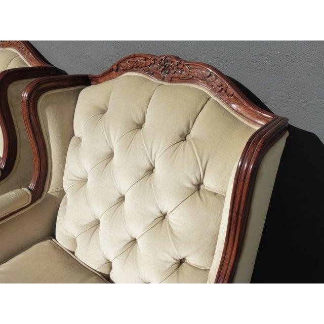 Pair of Bernhardt Tufted Wing Back Velvet Chairs - Image 7 of 11