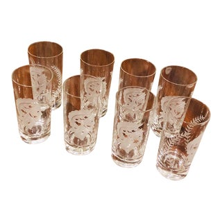 1970s Greek Spartan Cut Glass Highball Drinking Glasses - Set of 8 For Sale