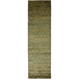 """Moroccan Beni Ourain Hand Knotted Olive Green Wool Runner Rug - 2' 9"""" X 9' 9"""" For Sale"""