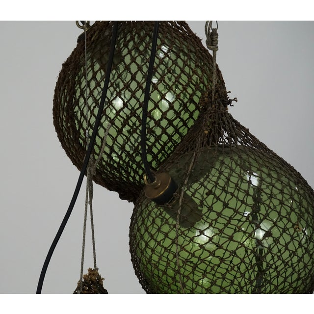 1940s Antique Japanese Green Glass Fishing Floats 3-Light Pendant For Sale - Image 5 of 9