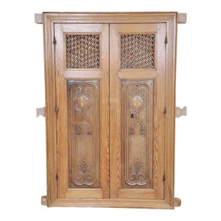 Antique Spanish Wooden Shutters With Hand Carved Panels For Sale