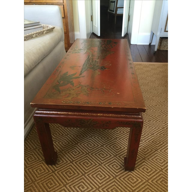 Chinoiserie Red Lacquer Cocktail Table - Image 3 of 7