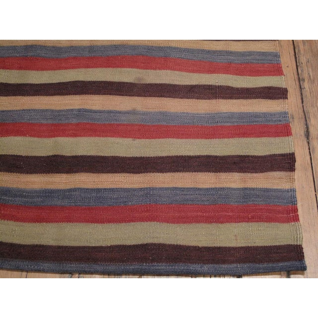 1950s Banded Kilim Wide Runner For Sale - Image 5 of 6