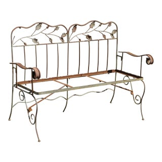 Late 20th Century Vintage Wrought Iron Maple Leaf Garden Patio Bench Settee For Sale
