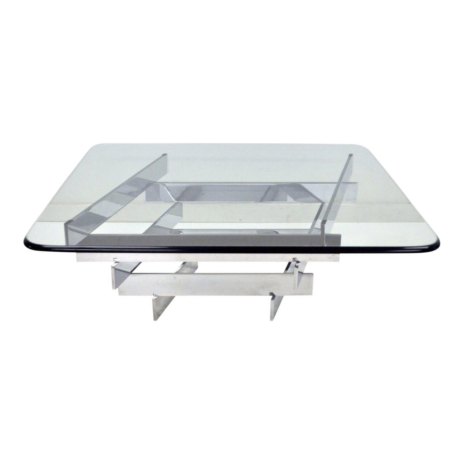 8c5e29e6313e8 Vintage Mid Century Modern Paul Mayen Habitat Chrome Stack Glass Coffee  Table