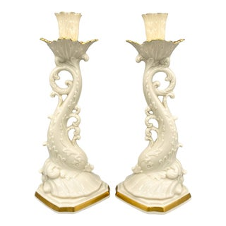 20th Century Cream and Gold Dolphin Lenox Porcelain Candlesticks- a Pair For Sale