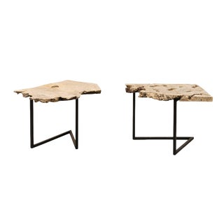 A Single Custom Burl Wood Top Iron Side Drink Table For Sale