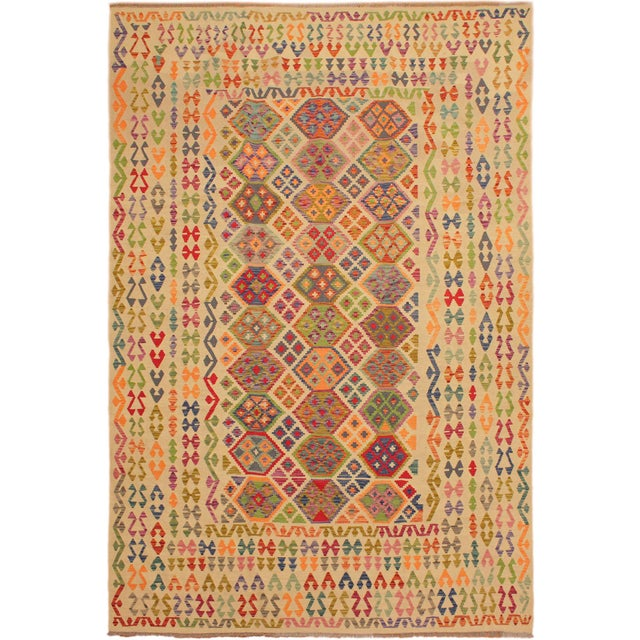 Blue Eulah Ivory/Blue Hand-Woven Kilim Wool Rug -8'6 X 11'5 For Sale - Image 8 of 8