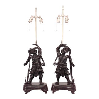 Pair of Asian Japanese Bronze Stylized Samuri Figures on Rectangular Base Mounted as Table Lamps