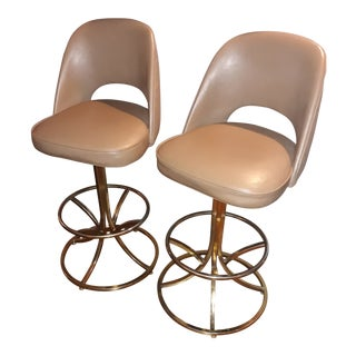 Mid Century Modern Swivel Stools- A Pair For Sale