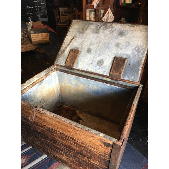 Antique Zinc Lined Wood Icebox For Sale - Image 4 of 8