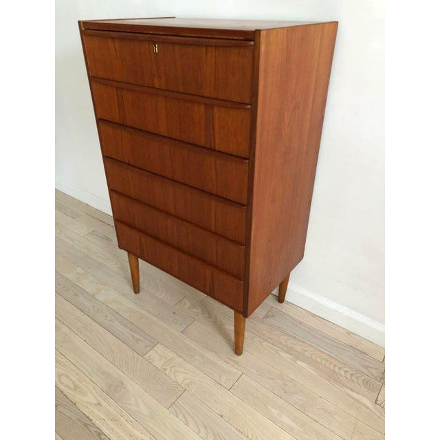 Teak 1950s Scandinavian Teak Tallboy Chest of Drawers With Key For Sale - Image 7 of 12