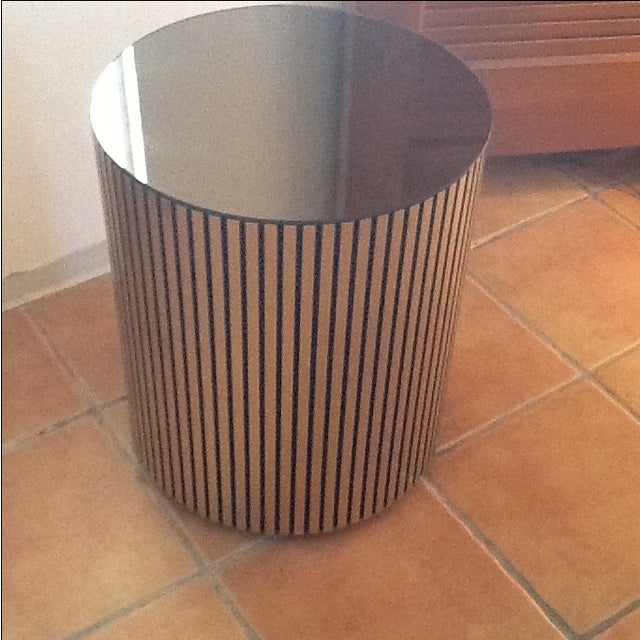 Vintage Gold Cylindrical Mirrored-Top Side Table - Image 2 of 7
