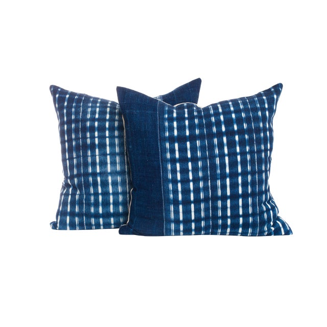 Vintage Indigo Pillows - A Pair For Sale