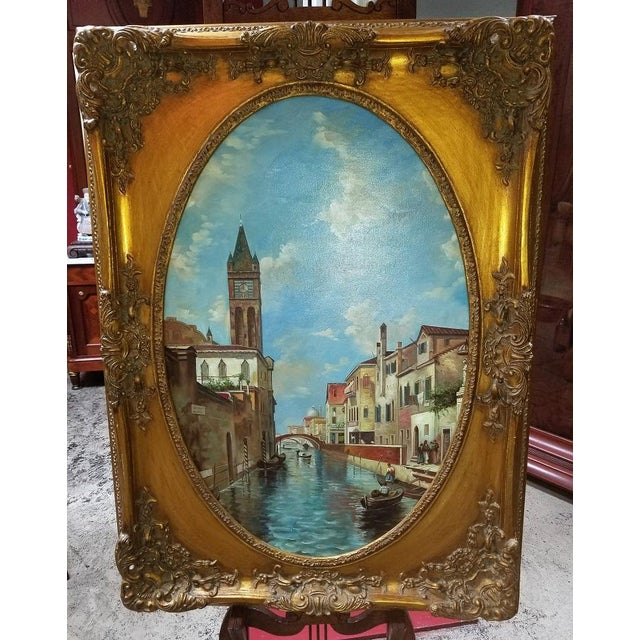 Oil on Canvas of Venetian Scene in Ornate Giltwood Frame For Sale - Image 12 of 12