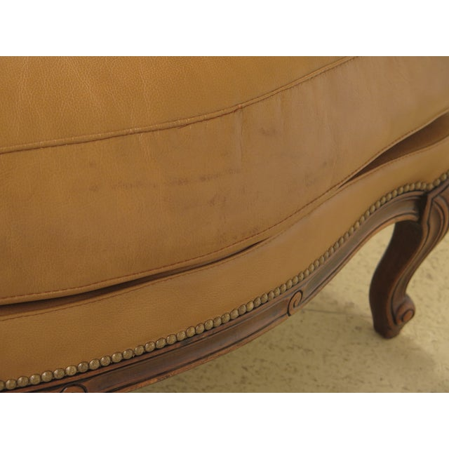 French Louis XV Style Leather Lounge Chair & Ottoman - A Pair - Image 9 of 13