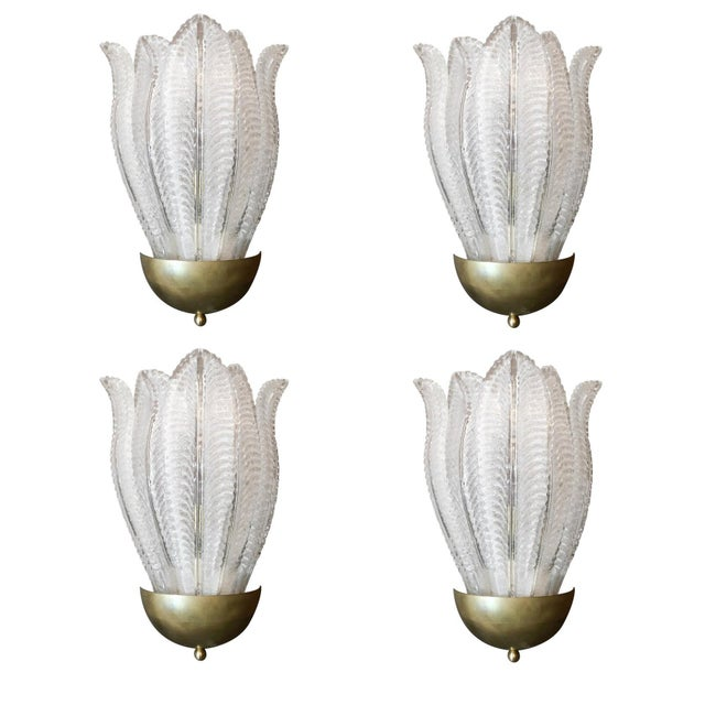 Two Pairs of Barovier E Toso Murano Glass Leafy Sconces For Sale - Image 10 of 10