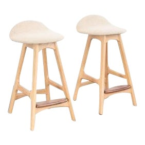 Vintage Mid Century Erik Buch Bar Stools- A Pair For Sale