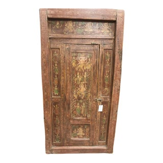 18c Antique Indian Door Dancing Ganesha Tribal Painted Wooden Door For Sale
