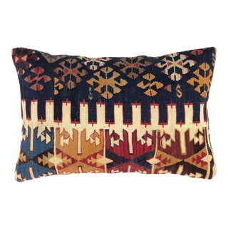 "Rustic Mid-Century Kilim Lumbar Pillow | 16"" X 24"" For Sale"