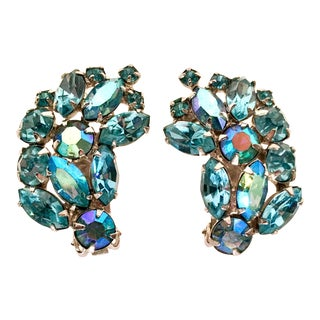 1960's Weiss Silver & Sapphire Blue Swarovski Crystal Earrings For Sale